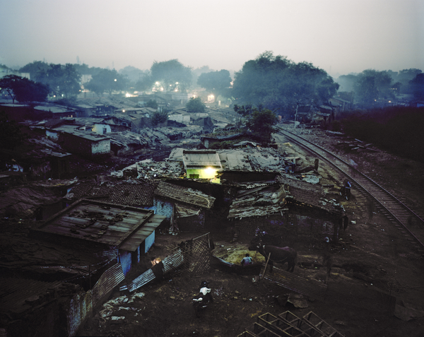 View of an Indian slum at dusk