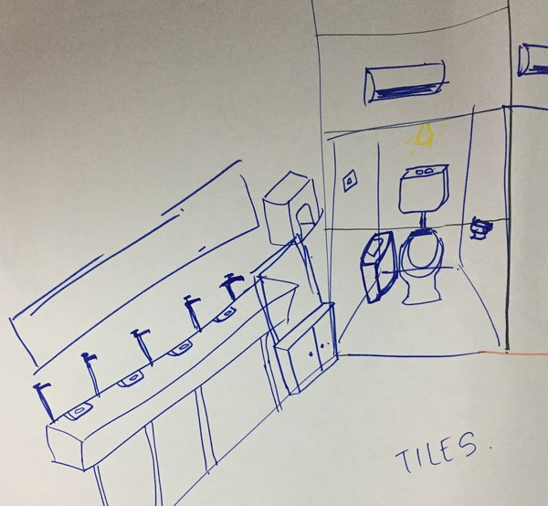Drawing of toilets