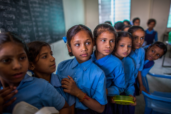 School girls queuing up in India