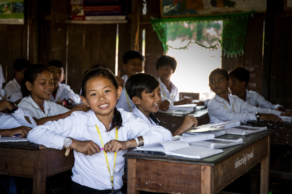 Sokea and other students in class in Cambodia