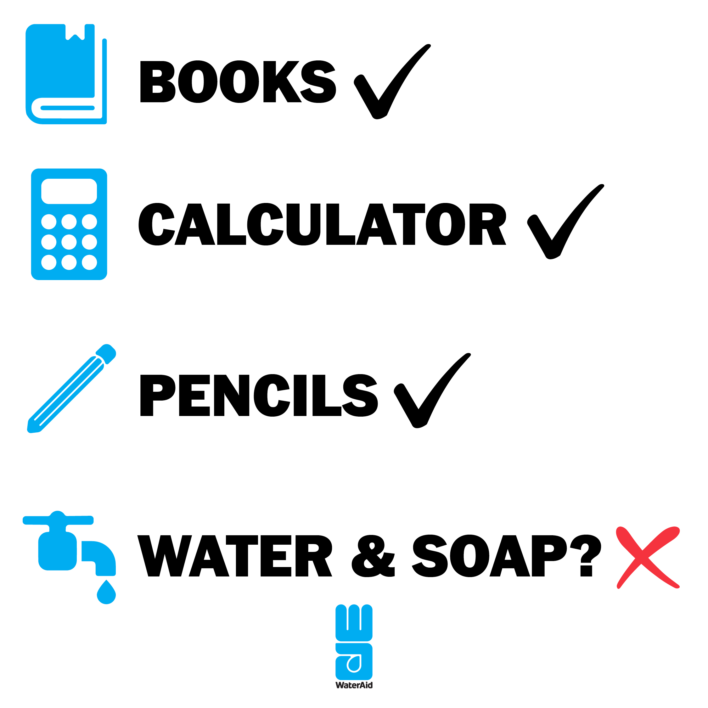 Graphics showing schools have books but not water and soap