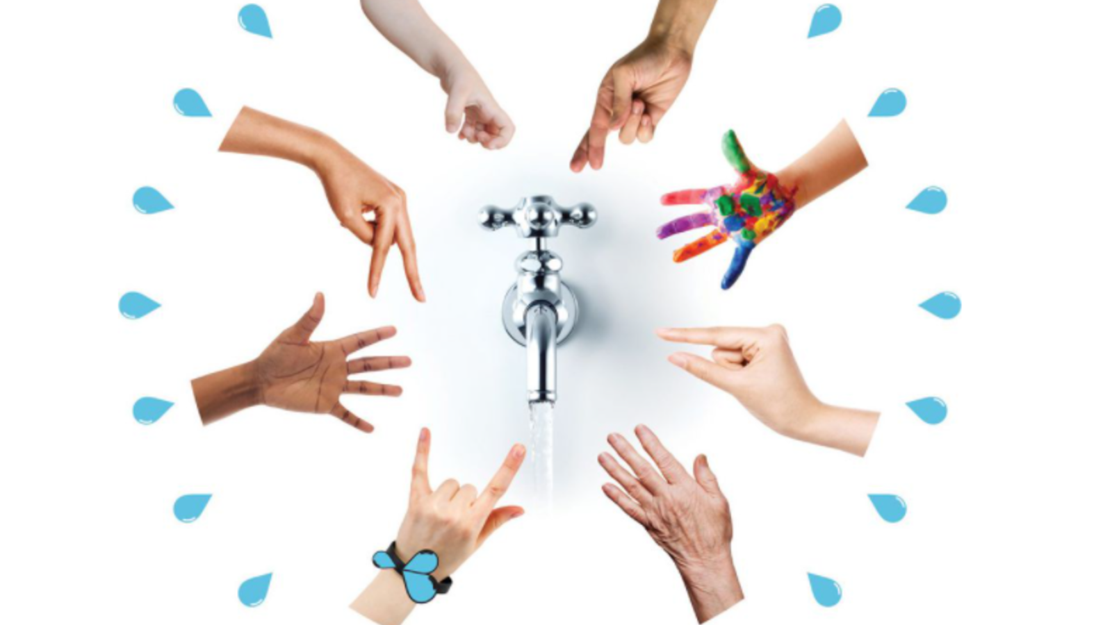 Water Night Logo with lots of hands in a circle around a tap