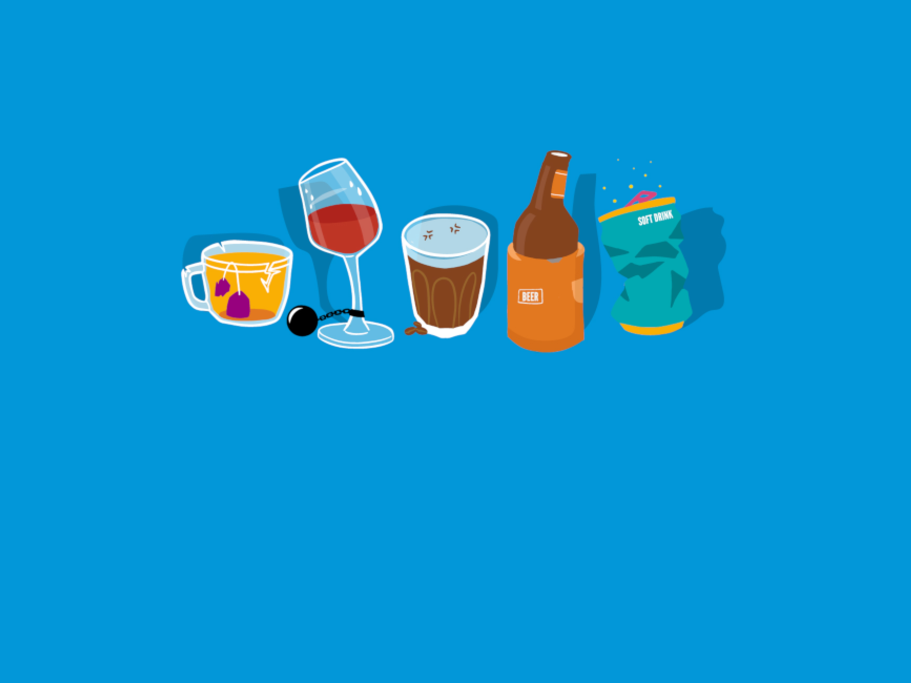 Illustration of various drinks