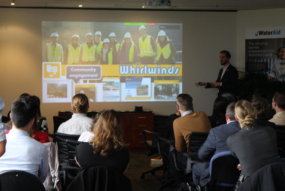 Michael McLennan delivers a slideshow on the different Winnovators submissions