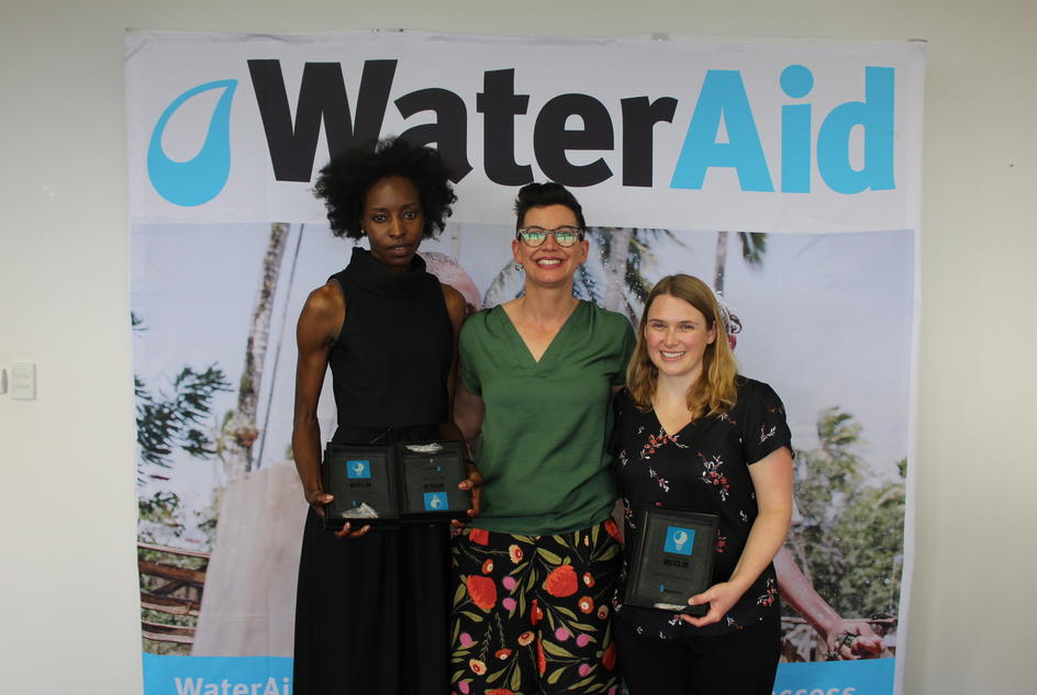 Rosie Wheen poses with the team leaders from Hunter Water's two teams - Emanti Hunters (Renny Chivunga) and Mareiwa (Lauren Randall)