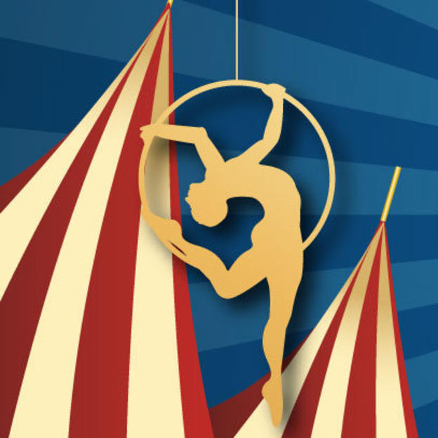 Circus tent and dancer