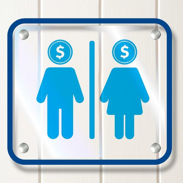 Pay to Pee - Toilet pictographs with dollar signs
