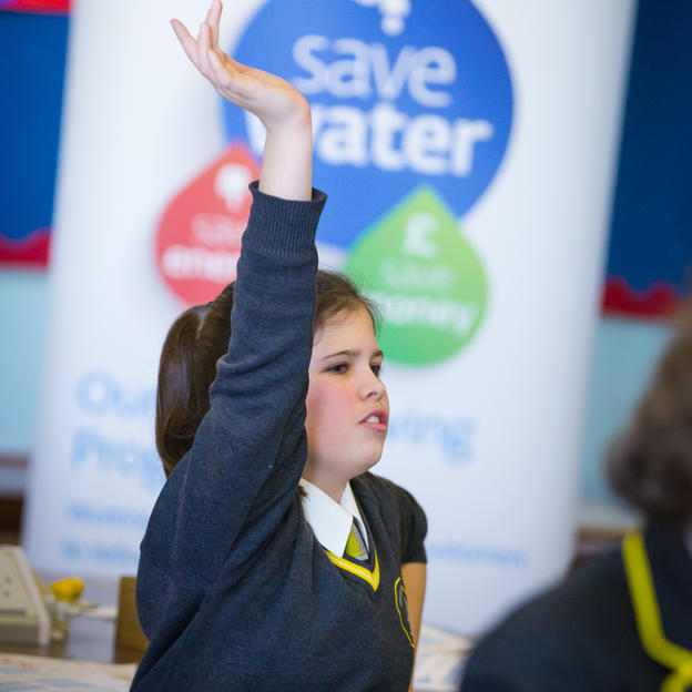 Pupil answers a question at High School Challenge Water workshop with Affinity Water, Luton, UK, February 2016