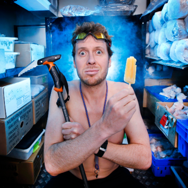 Adventurer Dan Bull sits in a freezer to acclimatise for the weather to come