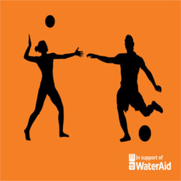 Two people playing volleyball and soccer