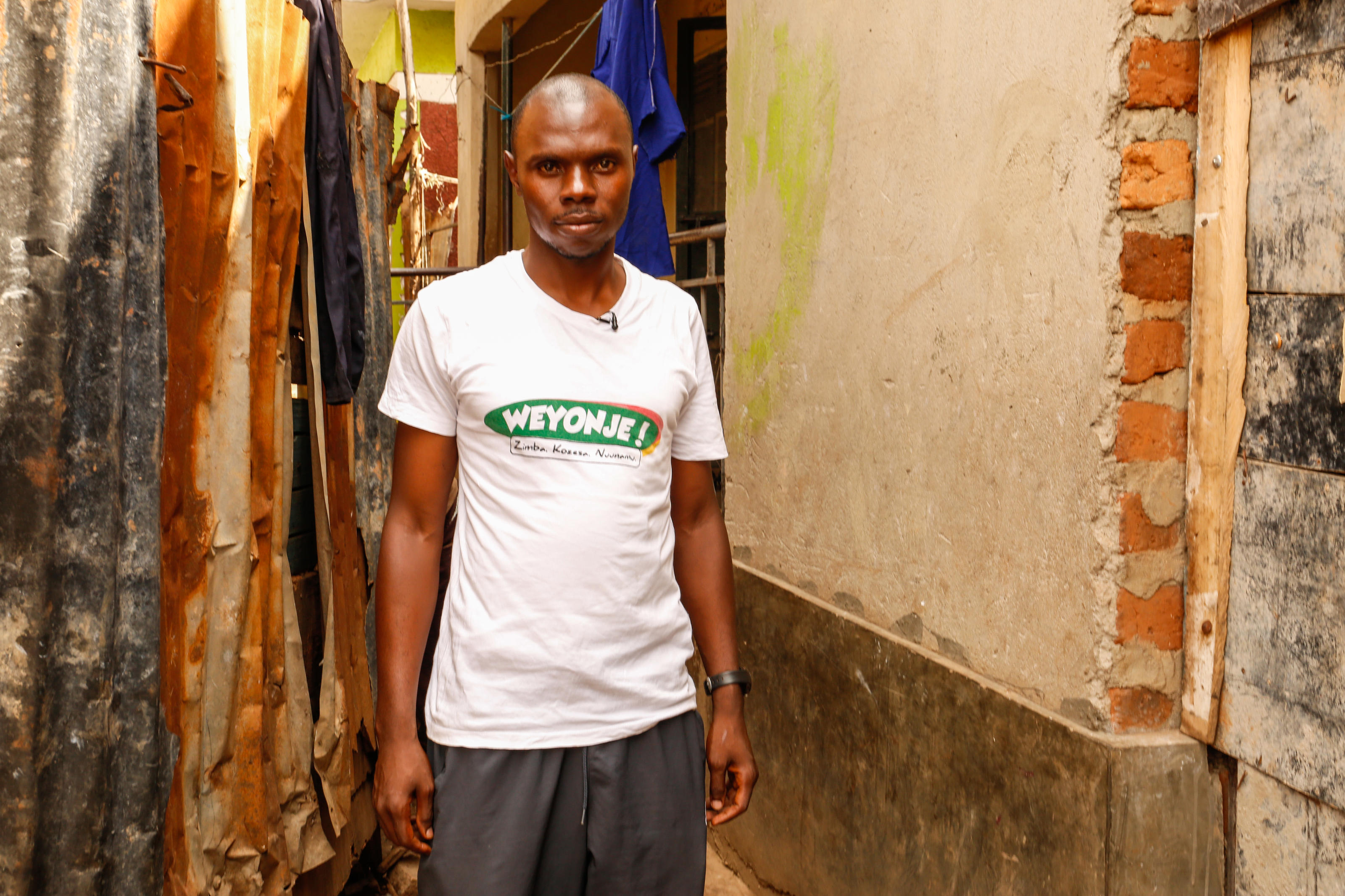 Tumwine Christopher, 31, leader of the Weyonje community group,  an action group for the improvement of WASH in Kamwokya II Parish, Kampala, Uganda, February 2019.
