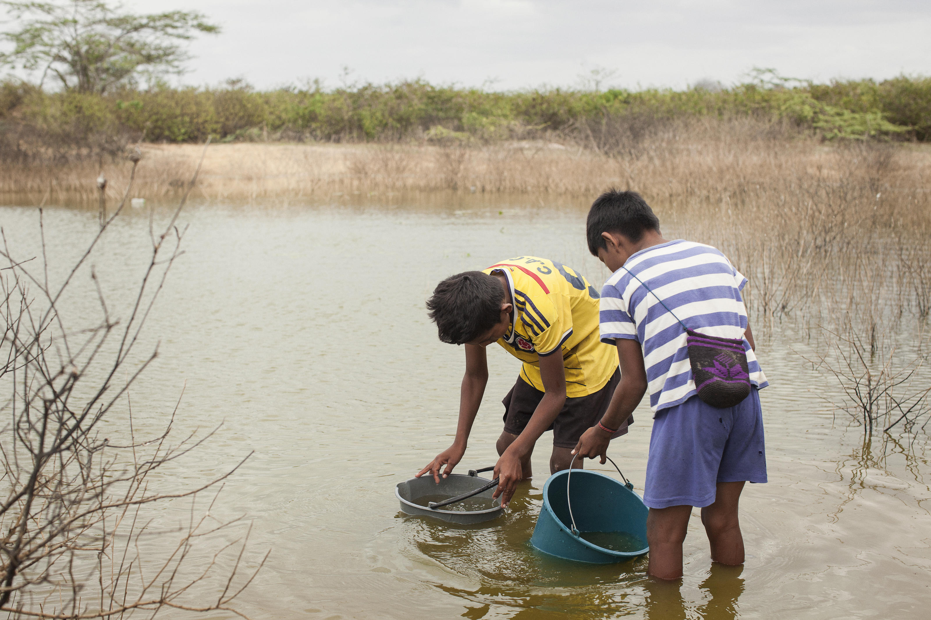 Hector Segundo Epiayu, 12, and Jose Miguel Aguilar, 11, get water from the jaguey for domestic use,  in Cachacha II, Riohacha, La Guajira, Colombia. March 2017.