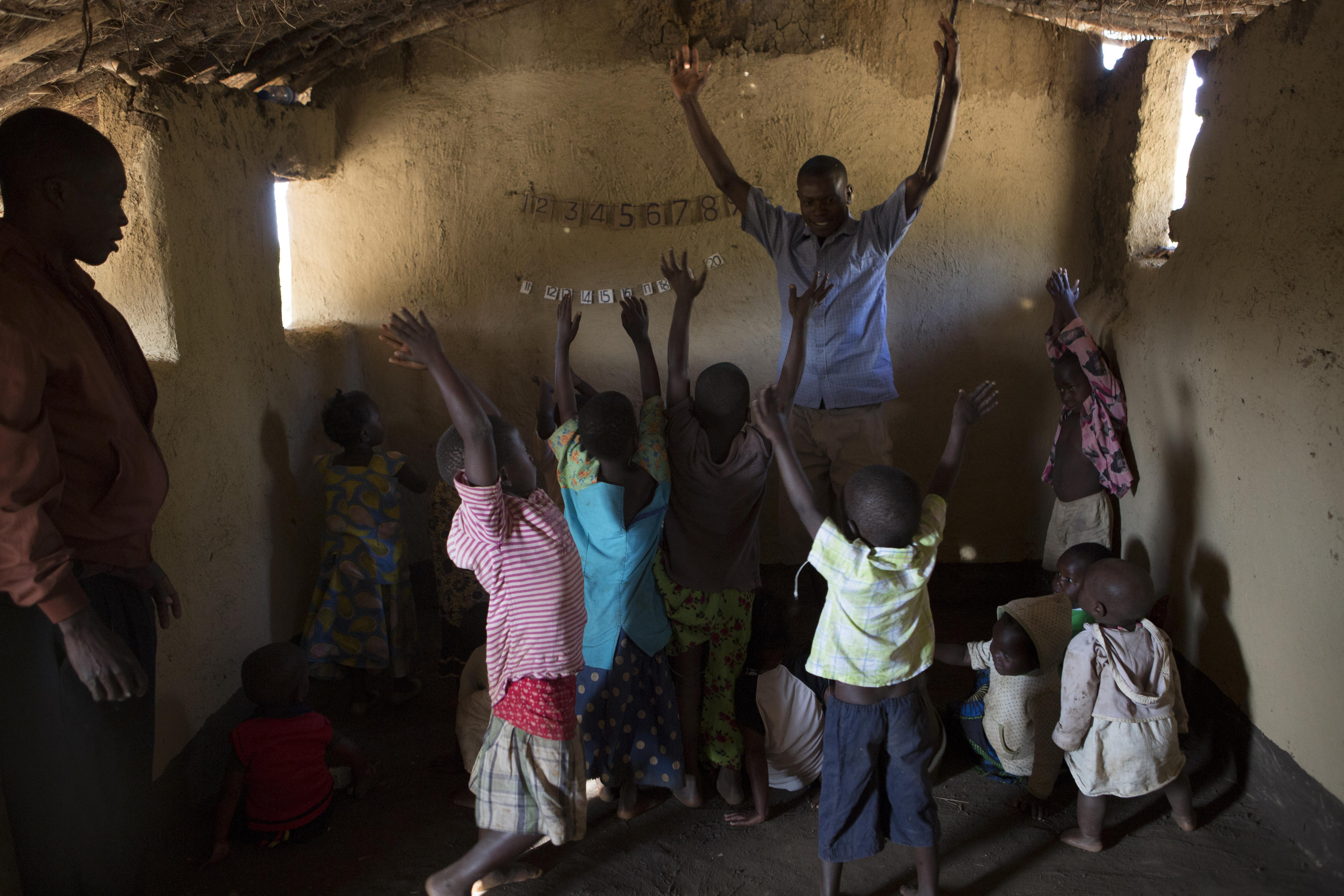 Helix teaches a class at the nursery school in the village of Chandaka, Malawi.