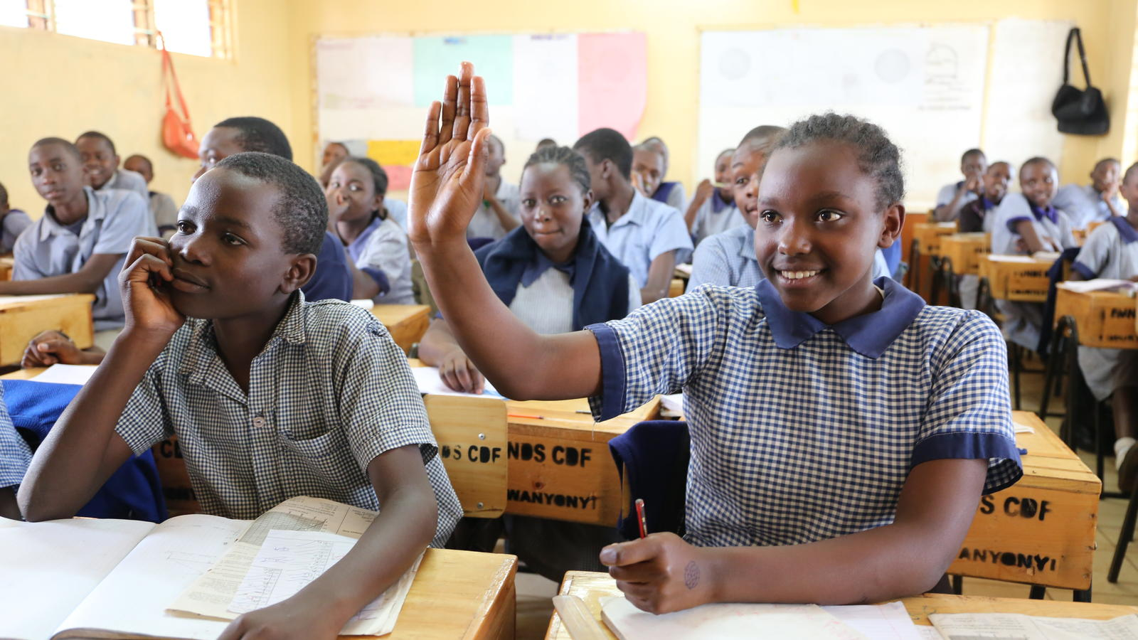 Brenda Nduta, 13, front row right, is eighth grade student and senior member of the health club. Kangemi Primary School, Westlands, Nairobi, Kenya. October 2016