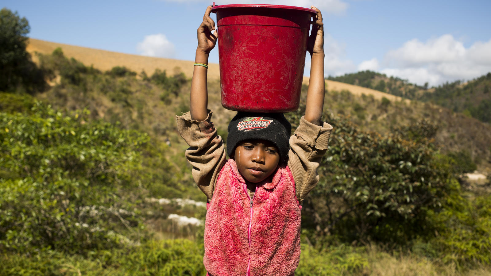 Neny collects water in Madagascar.