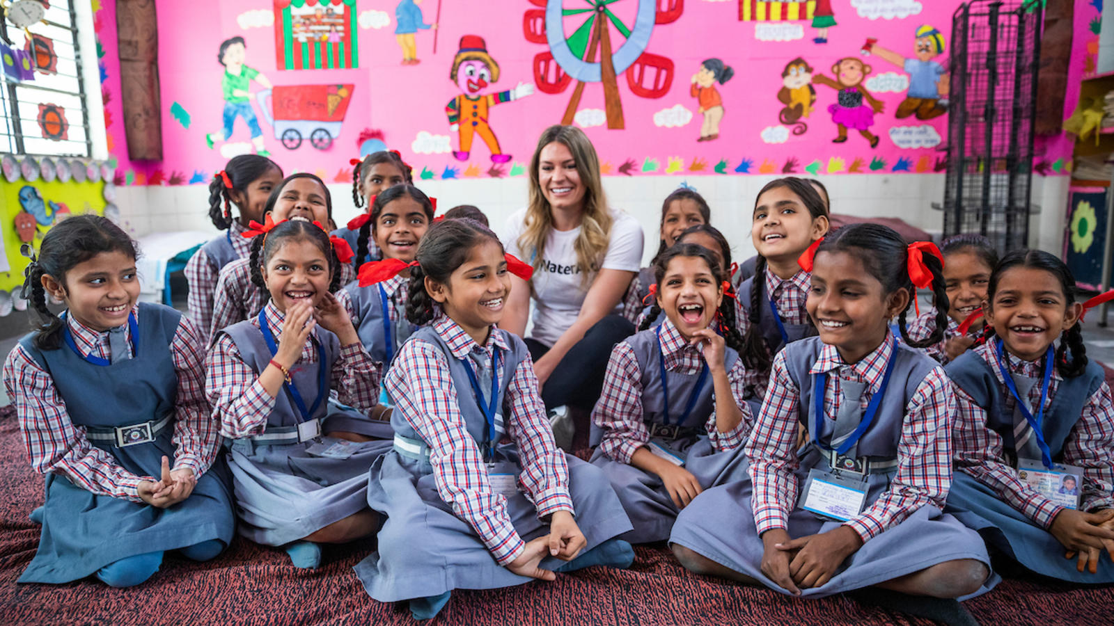 Natalie visiting a government primary school in New Delhi.