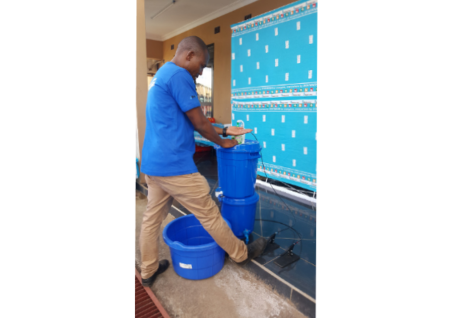 "Wateraid Malawi has designed an innovative ""no touch"" handwashing system. The soap dispenser and water tap are operated by pressing different foot pedals, allowing hands to remain clean and prevent the spread of germs."