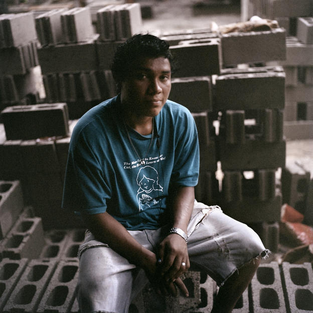 Elton, 19, who works on making bricks for construction, Bilwi, Nicaragua.