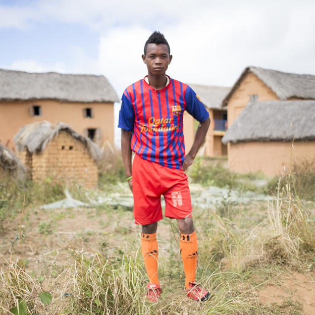 Portrait of Roland in football kit, Madagascar.