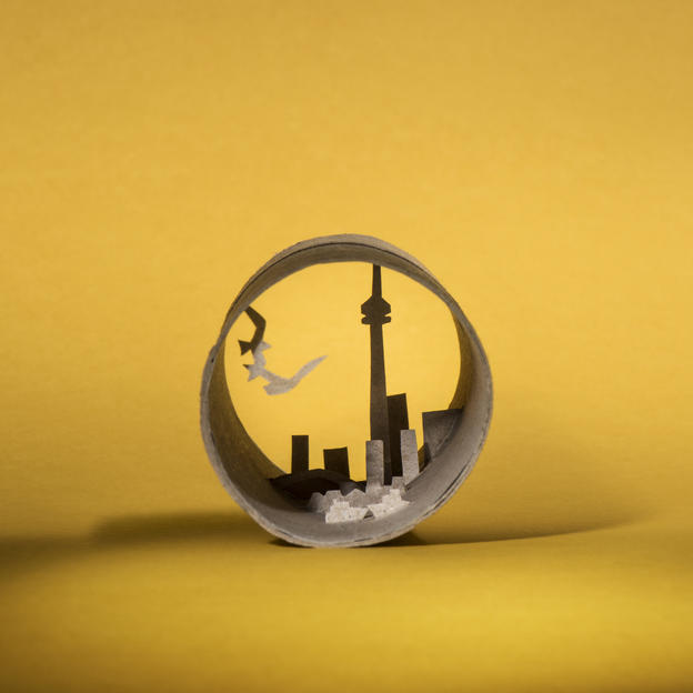 Toronto, Canada - depicted in a toilet roll by artist Anastassia Elias for WaterAid, to raise awareness of the 700 million people in towns and cities across the world living without decent toilets, on World Toilet Day 2016
