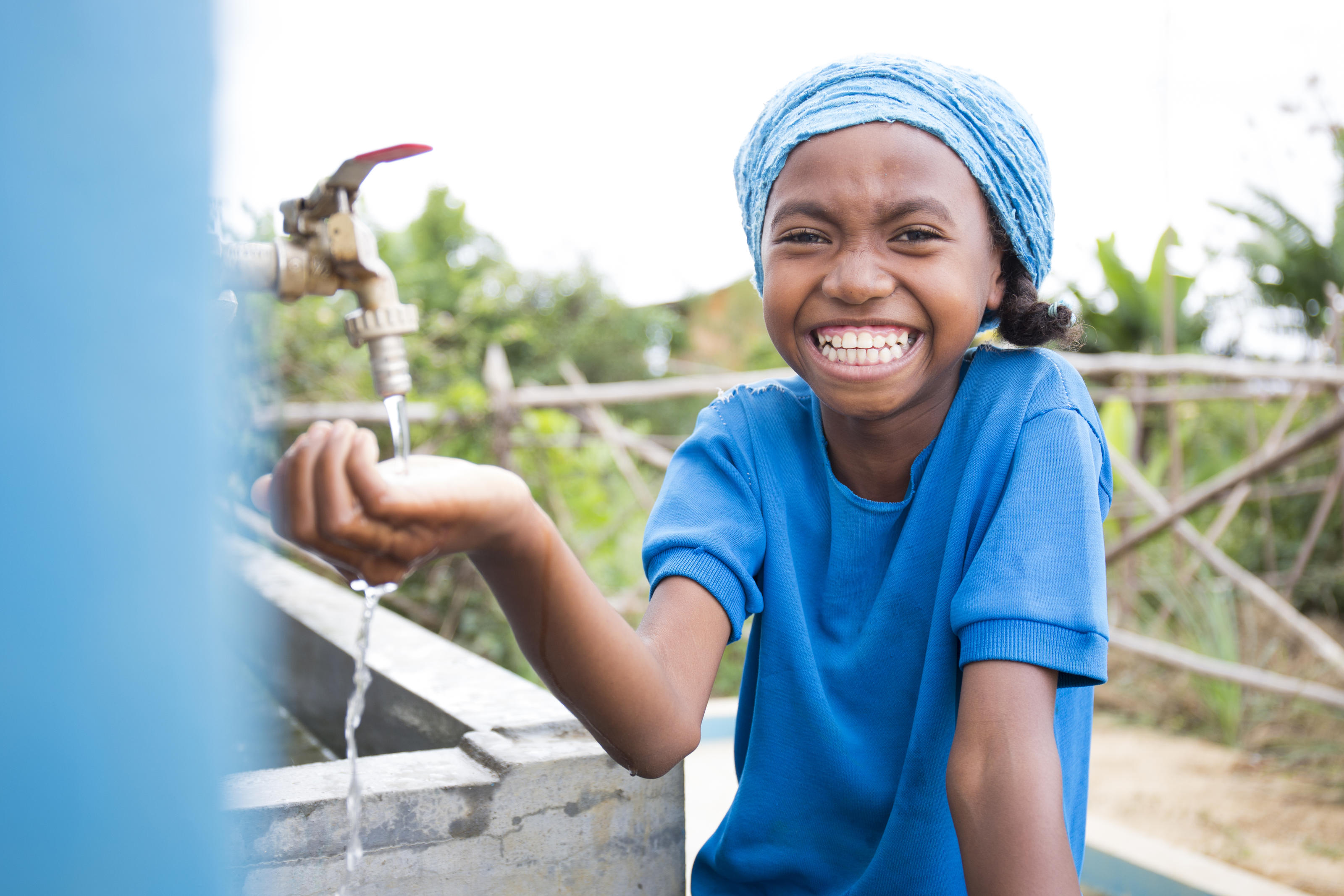 Neny, 10, student at the handwashing station of their sanitation block at Tsarafangitra Primary School, Tsarafangitra Village, Belavabary Commune, Moramanga District, Alaotra Mangoro Region, Madagascar, May 2018.