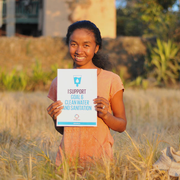 """For me, it means we too will have the right to clean water."" Vero, 18 years old, supporting Global Goal six 'Clean water and sanitation.' Ambohitrinilahy village, Vakinankaratra region, Madagascar. September 2015."