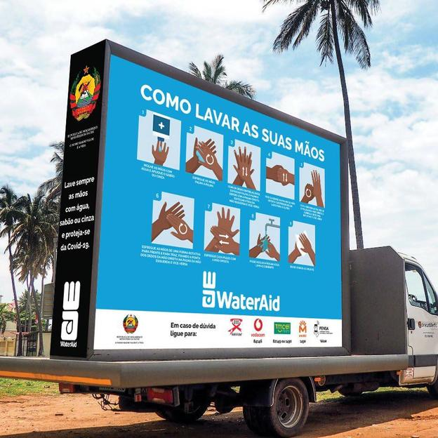 Truck carrying advertisements to promote handwashing and hygiene in Maputo townships. Covid-19 response. Mozambique. April 2020