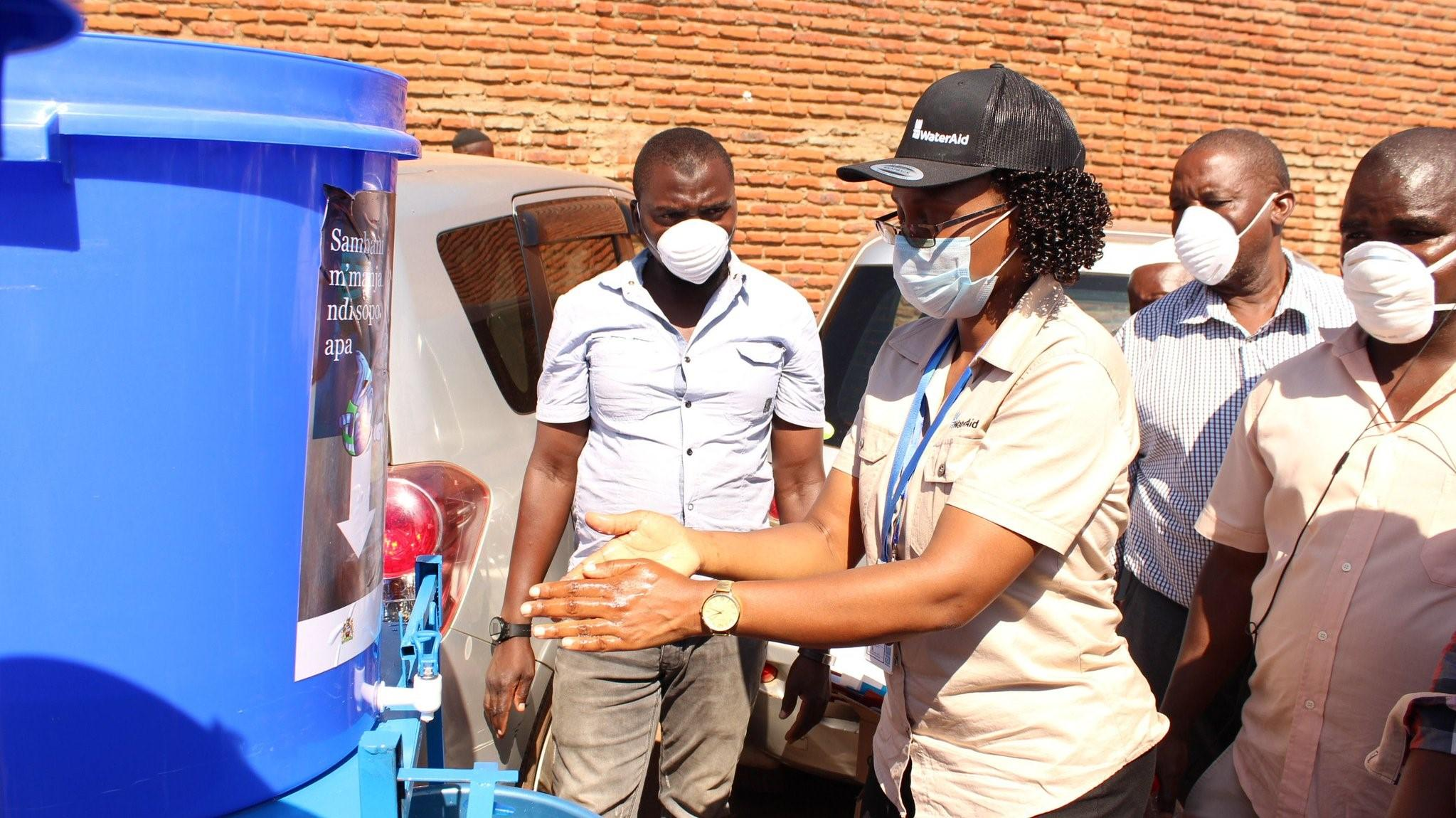 WaterAid Malawi distributed handwashing facilities + supplies to Bwaila Hospital and Lilongwe Main Market along with literature promoting proper hygiene to help prevent the spread of COVID-19. COVID-19 response. Malawi. April 2020