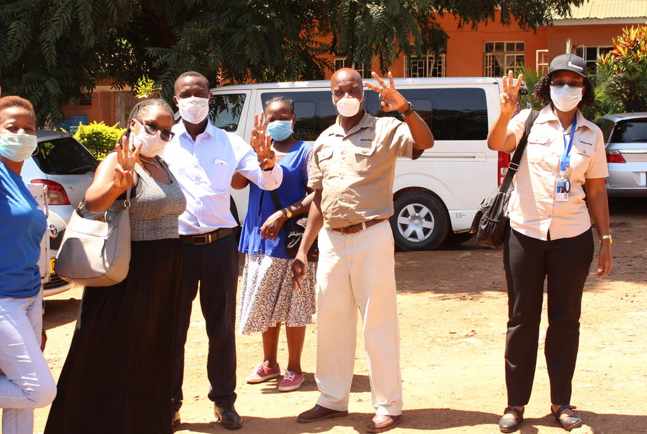 WaterAid Malawi's staff members during a visit at Bwaila hospital.