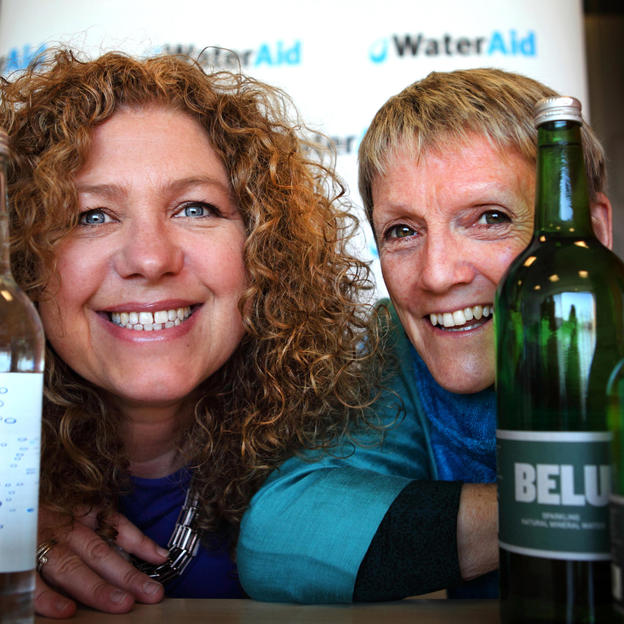 Belu CEO Karen Lynch and former WaterAid Chief Executive Barbara Frost with Belu water bottles