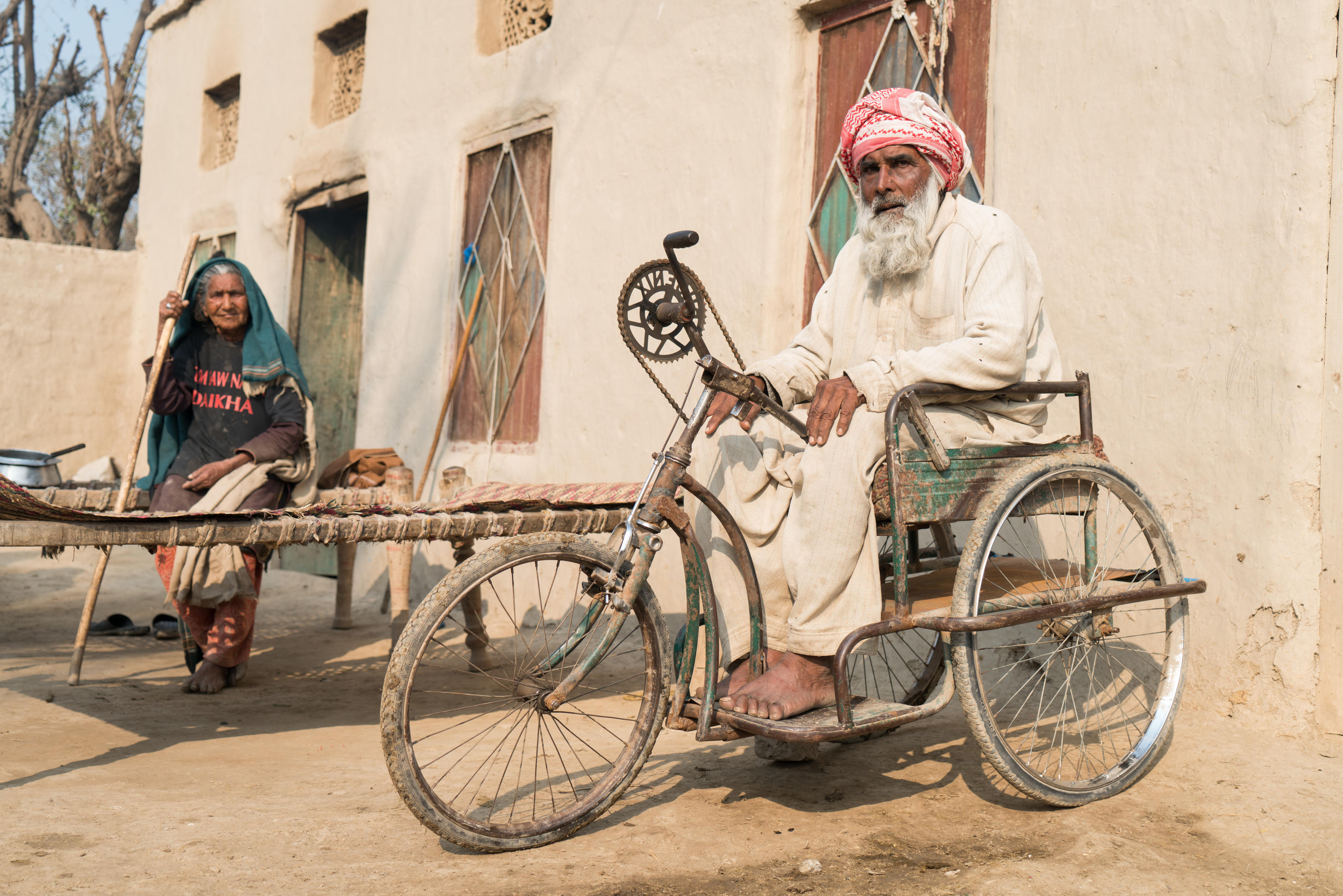 Ghulam outside his house, Punjab, Pakistan