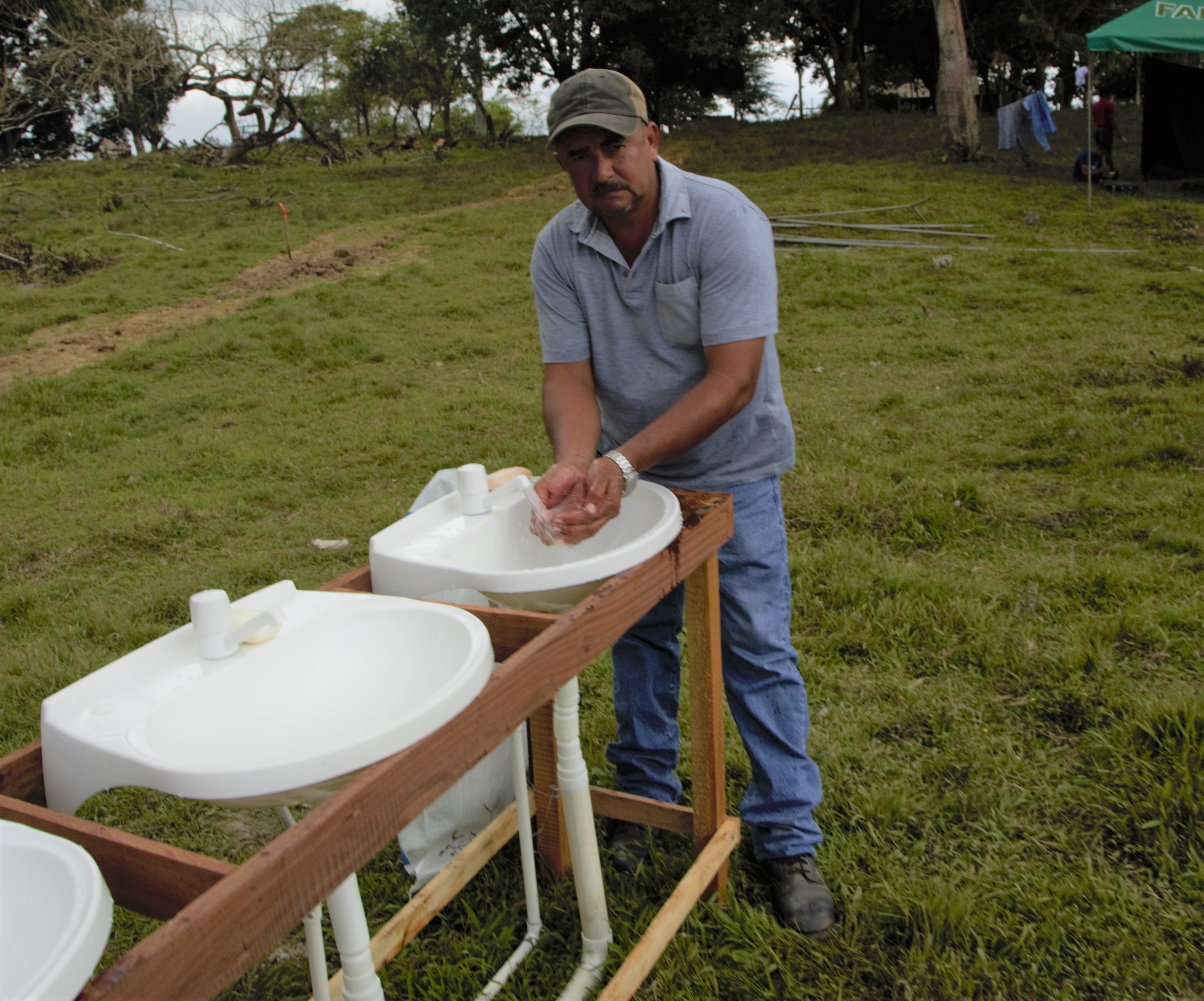 A pop up handwashing station in Nicaragua