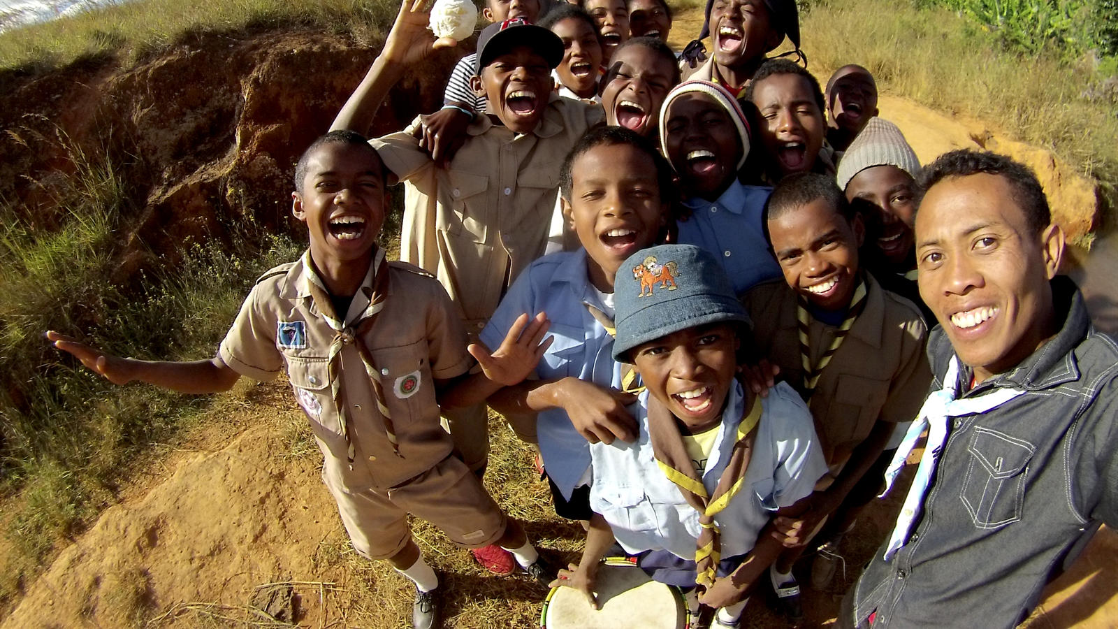 Ernest takes a selfie with Scouts in Ankazobe district, Madagascar.