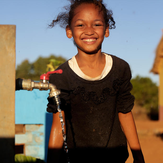 Linah at their water point in Bongolava region, Madagascar.