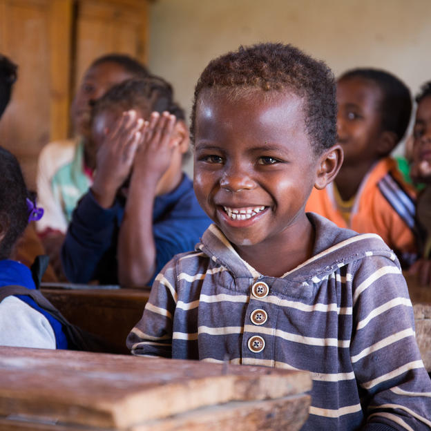 Six-year-old Mamisoa at school in Madagascar.