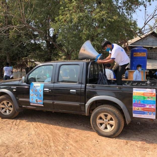 WaterAid Cambodia are working with government partners and private sectors in Kampong Chhnang, Cambodia, delivering a public awareness campaign on how to prevent COVID-19 to communities, March 2020.