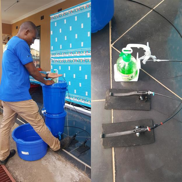 Innovation from WaterAid Malawi in the fight to prevent the spread of COVID19 with good hygiene. A foot-operated mechanism enabling handwashing station users to avoid touching the hand soap bottle and tap. COVID-19 response. Malawi. March 2020