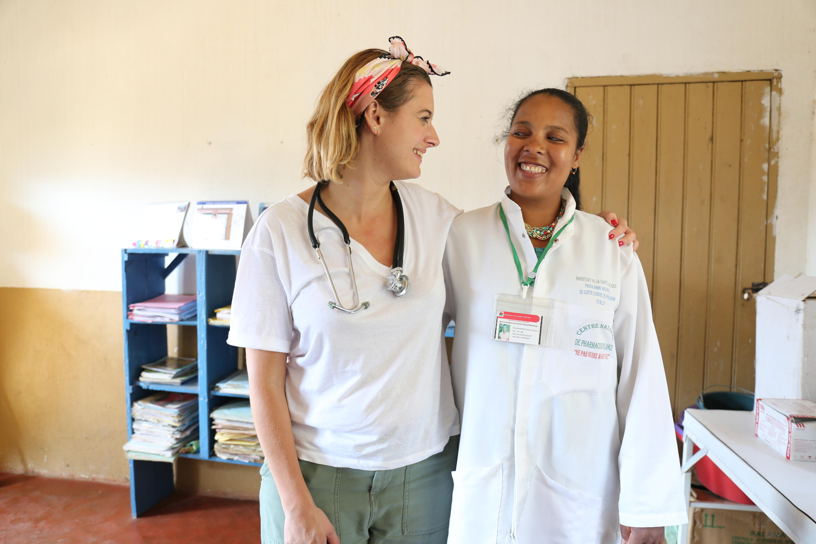 Midwives Clemmie Hooper and Narinda at a health centre in Moramanga, Madagascar.