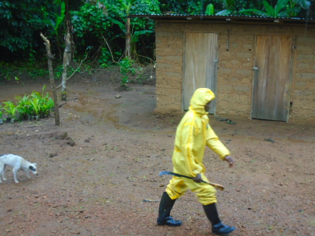 The protective clothing used during the Ebola crisis now has a second life as a rain mac in Tombohuaun.