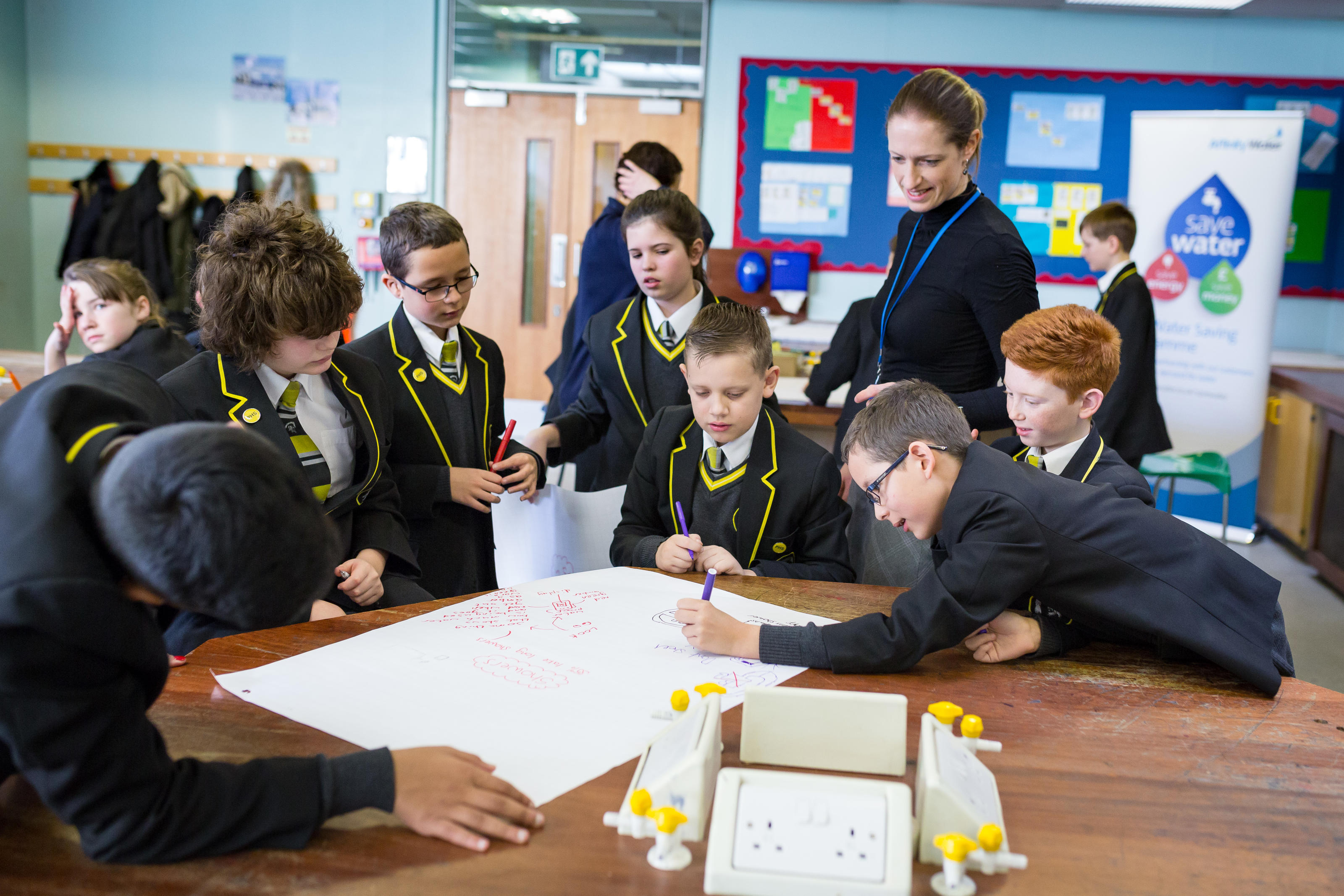 Pupils take on a Challenge Water activity at a High School Challenge Water workshop with Affinity Water, Luton, UK, February 2016