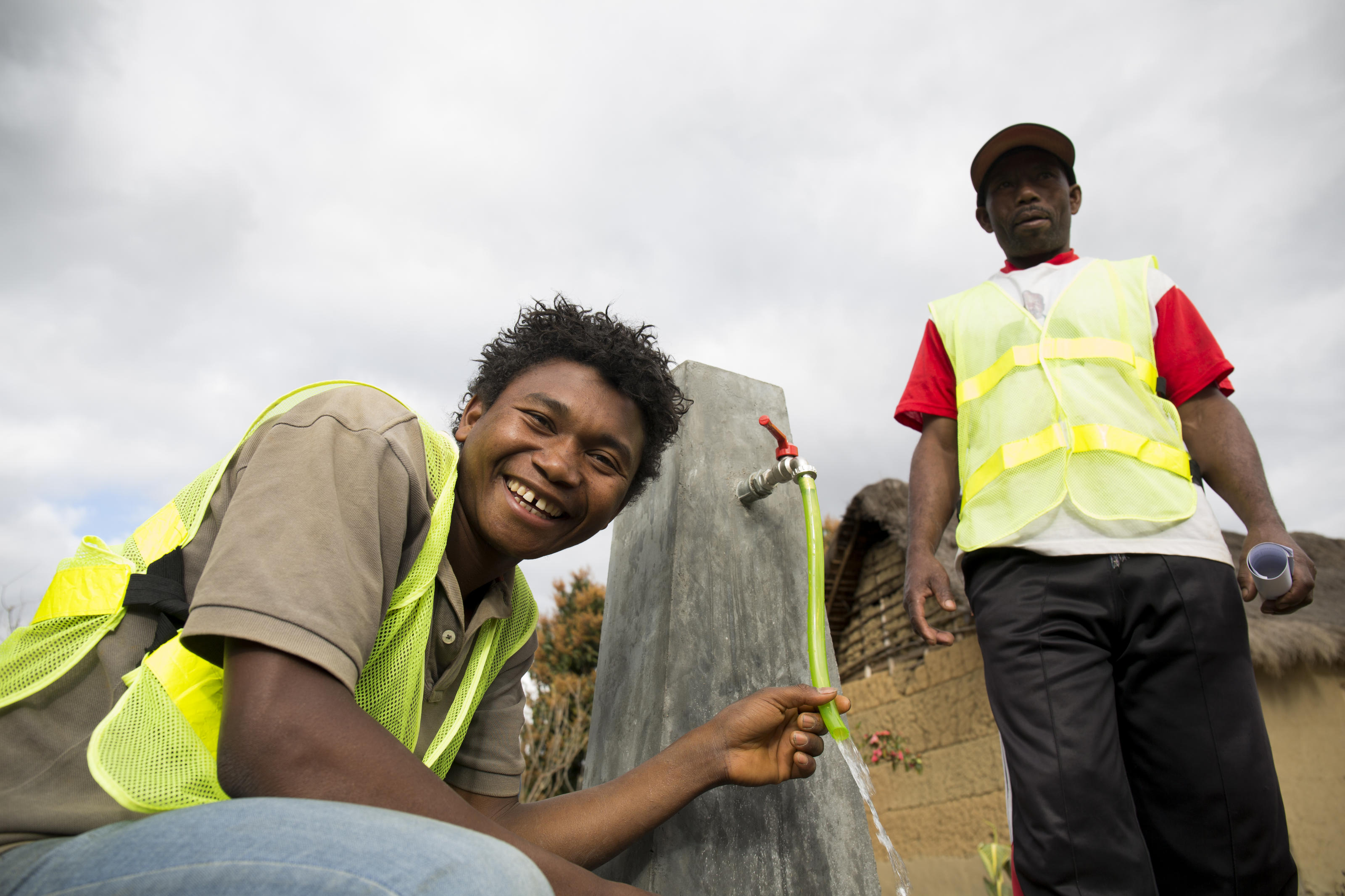 Evariste pictured with his colleague, Daniel, at water point number three in Belavabary village, Madagascar.