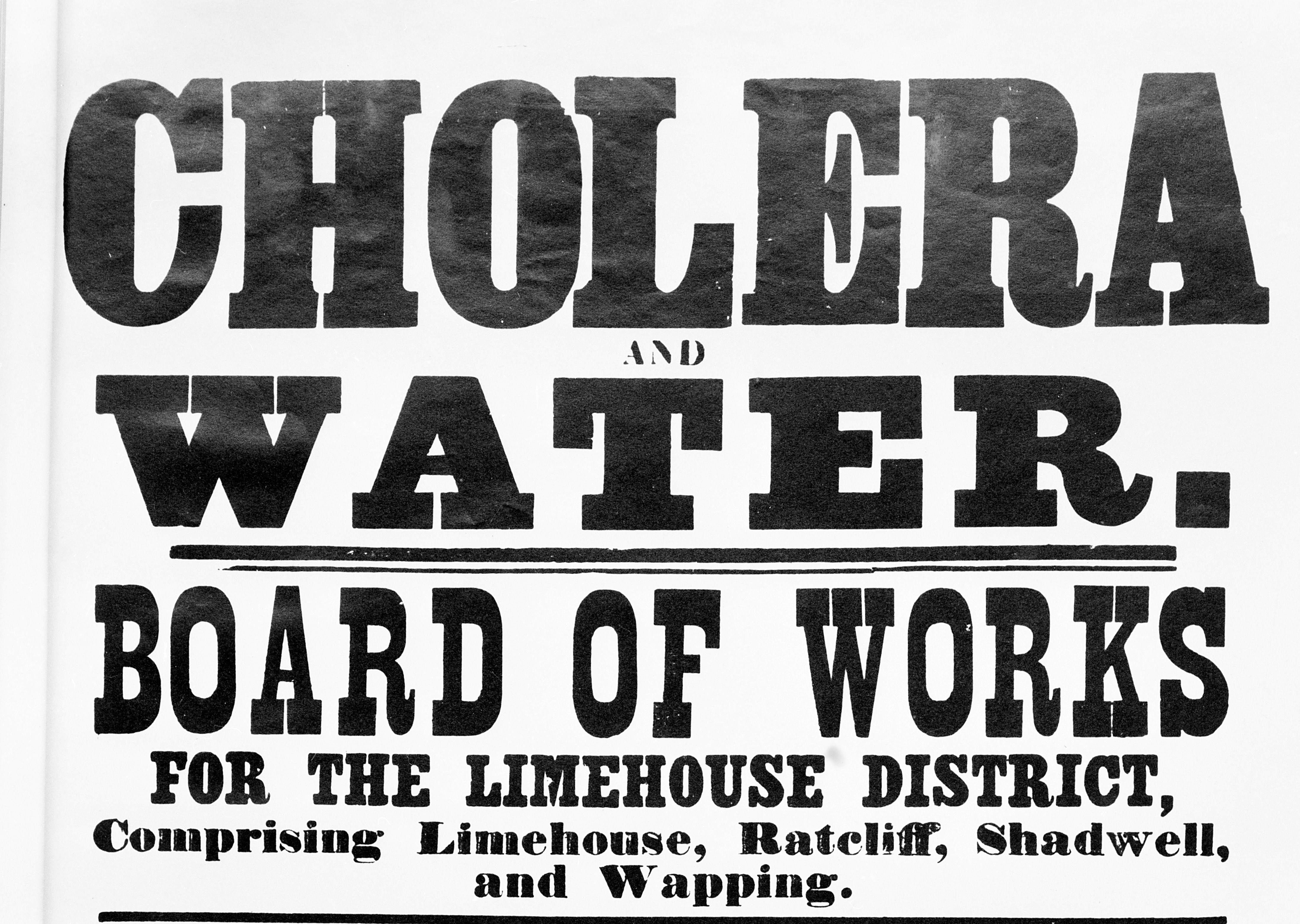 A poster warning of cholera in East London, 1866