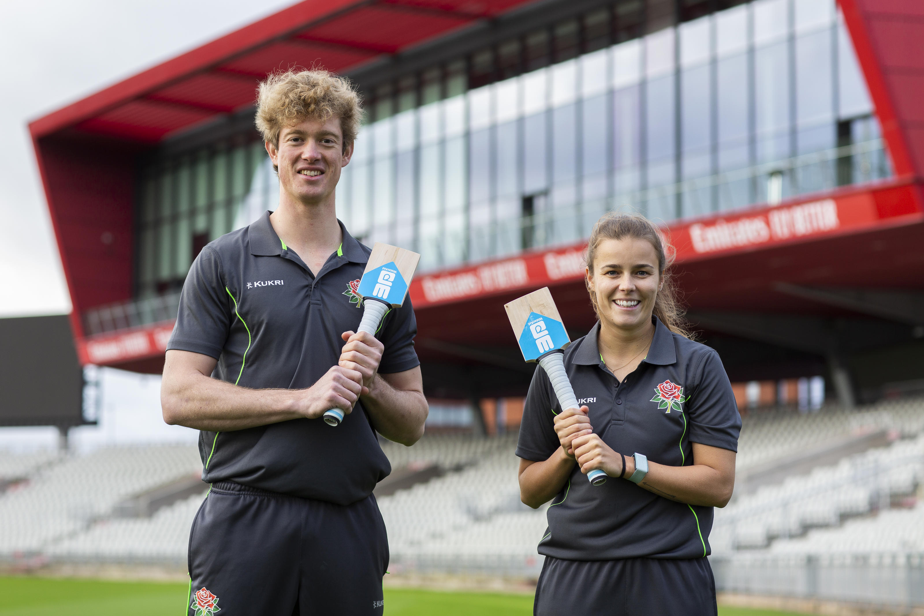 Cricketers Alex Hartley and Keaton Jennings with the bats for WaterAid's Bring Water appeal. Let's Bring Water cricket shoot at Lancashire Country Cricket club. November 2020