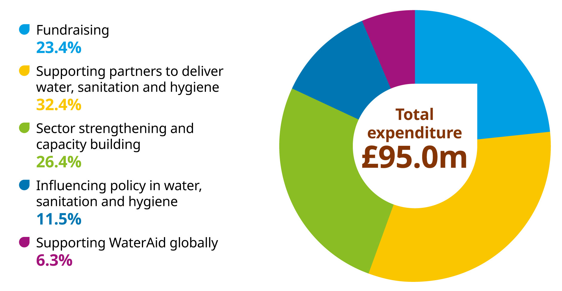Graphic showing expenditure was £95 million