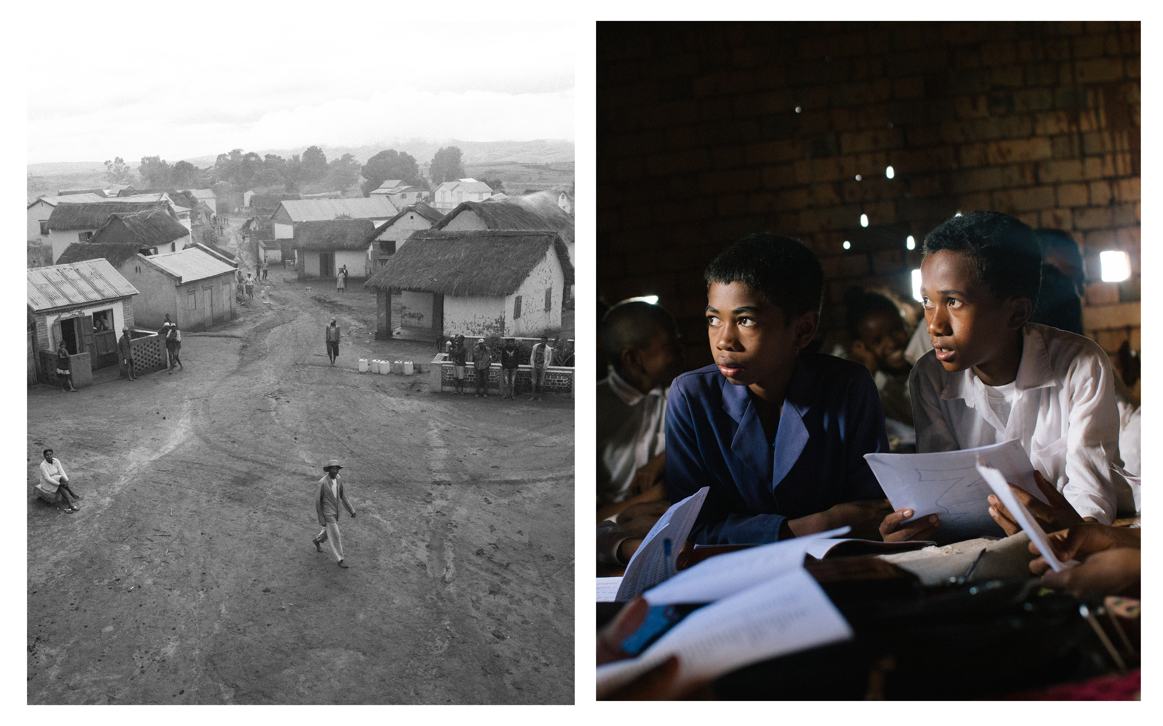 L: An aerial view of the village and R: young boys studying in class