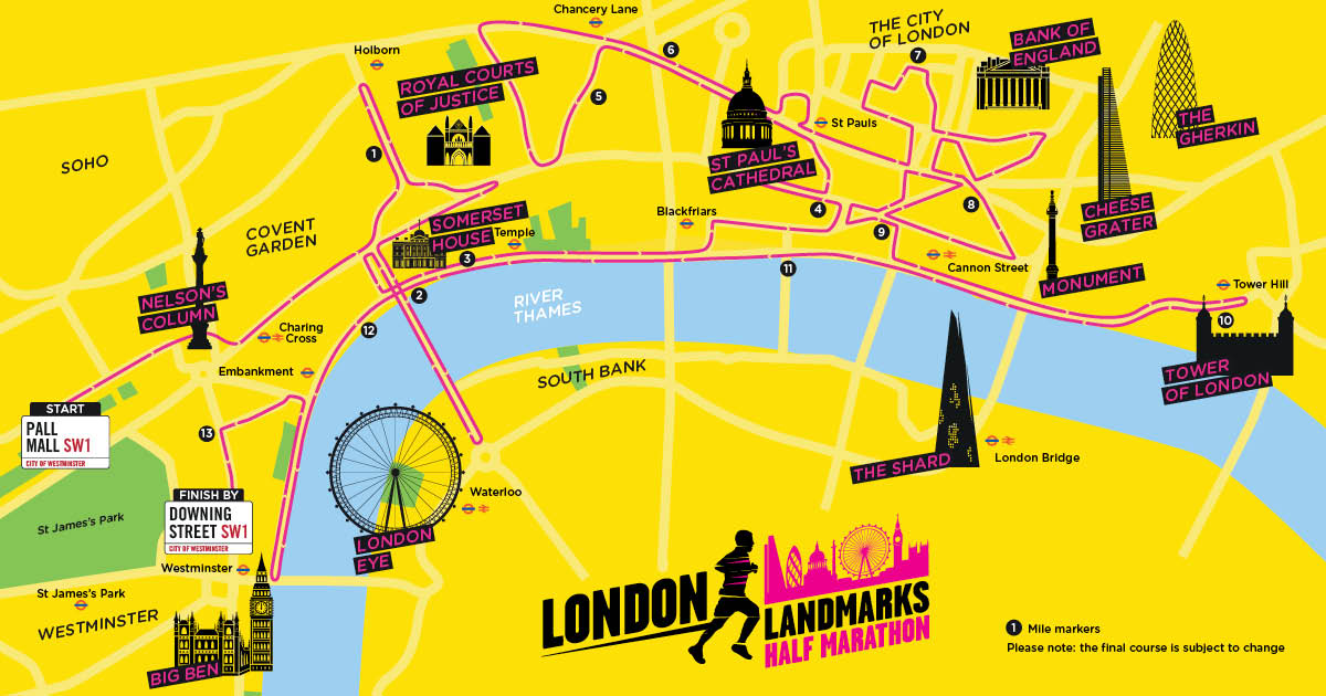Map of the London Landmarks Half Marathon route, starting at Pall Mall and ending by Downing Street.