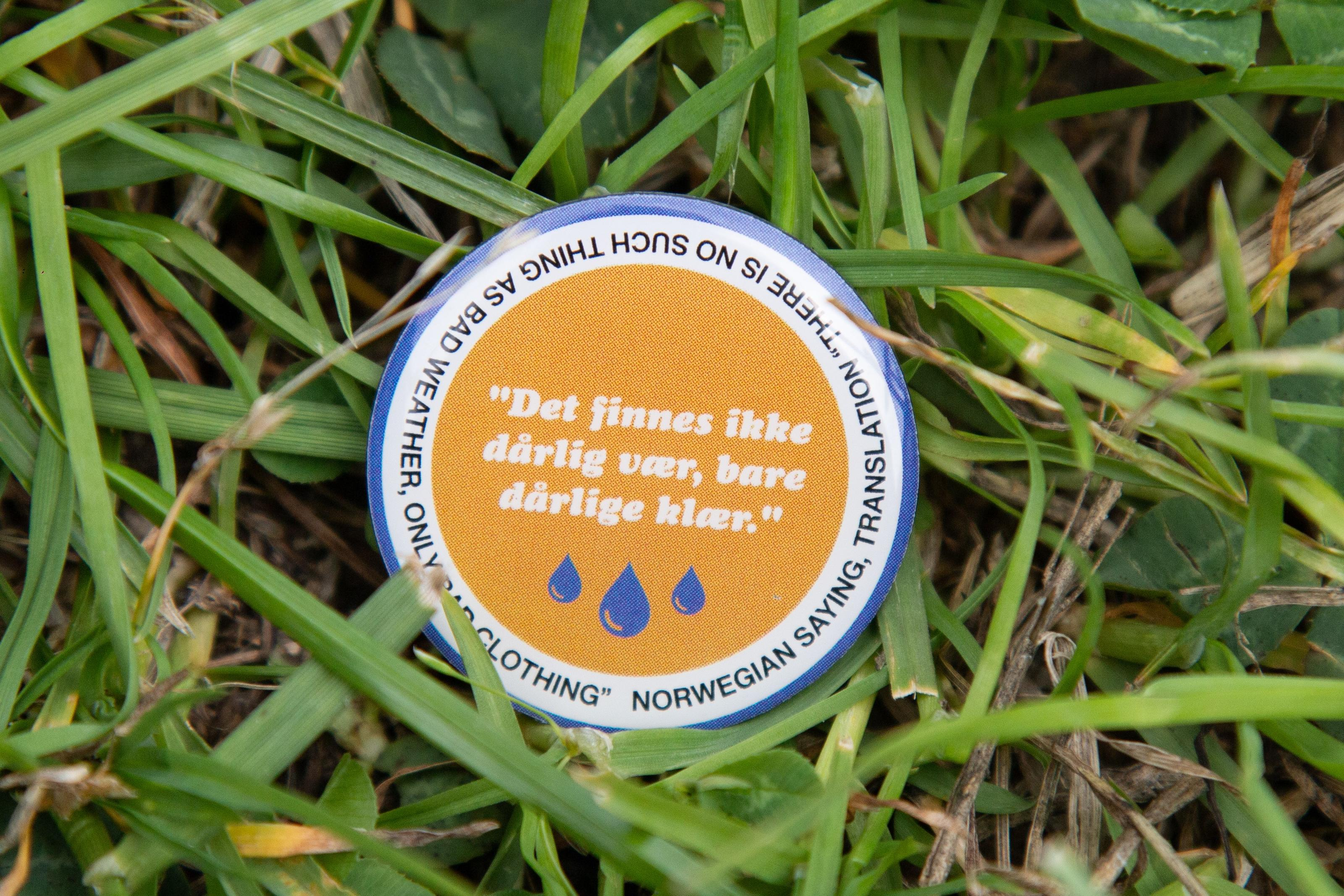 Sigrid - There is no such thing as bad weather, only bad clothing - Celebrity pin badge design for Glastonbury