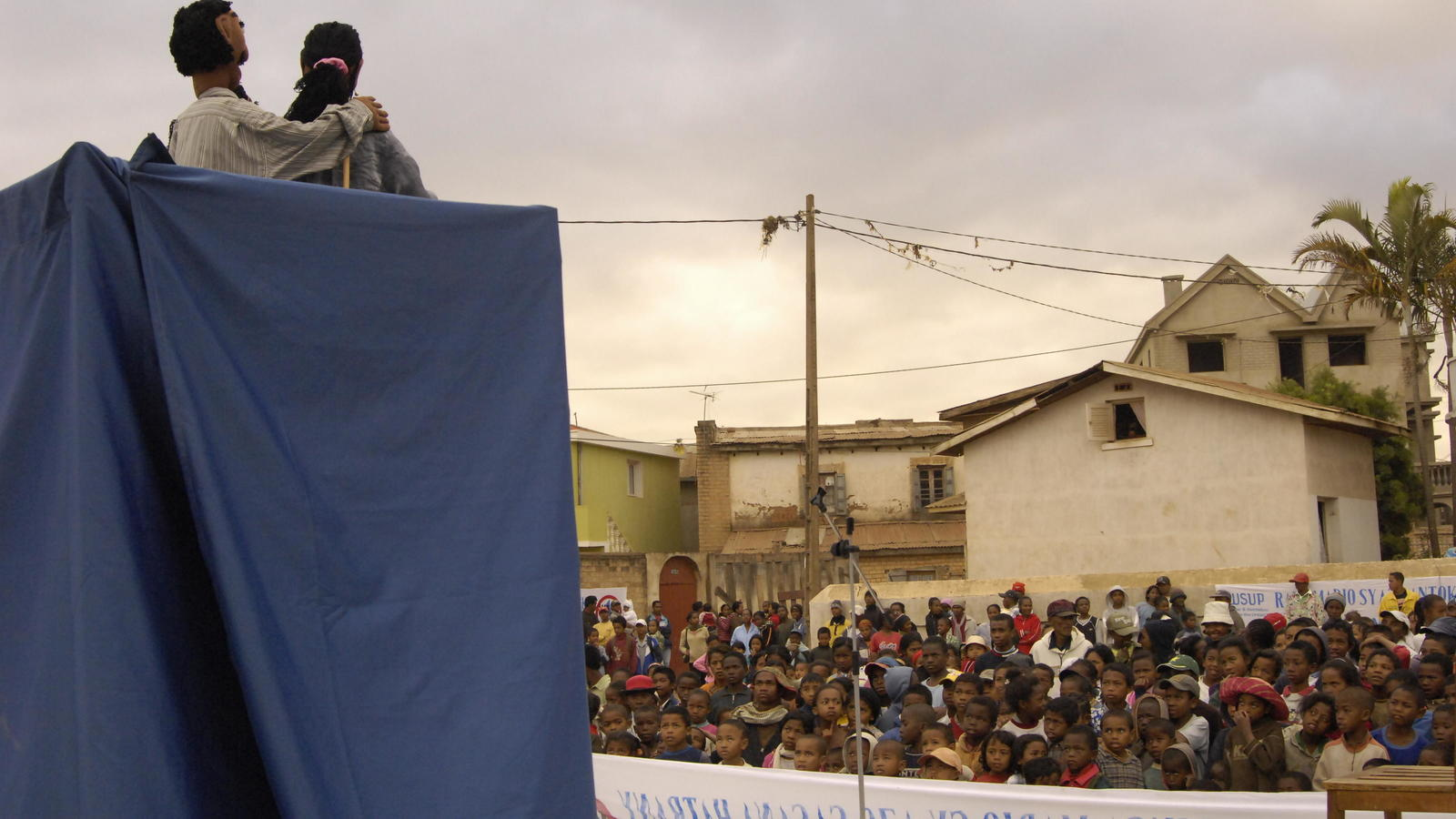 A puppet hygiene education show takes place in Antenitibe, Madagascar.