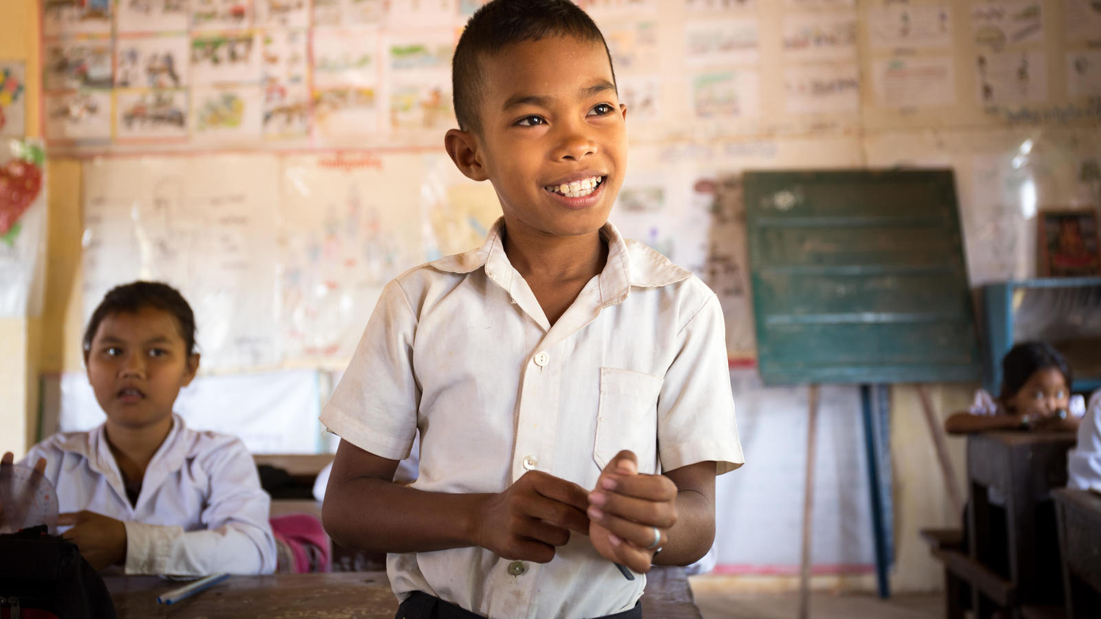 Ros at his school in Cambodia, where we worked with our partners to deliver a hygiene education programme.