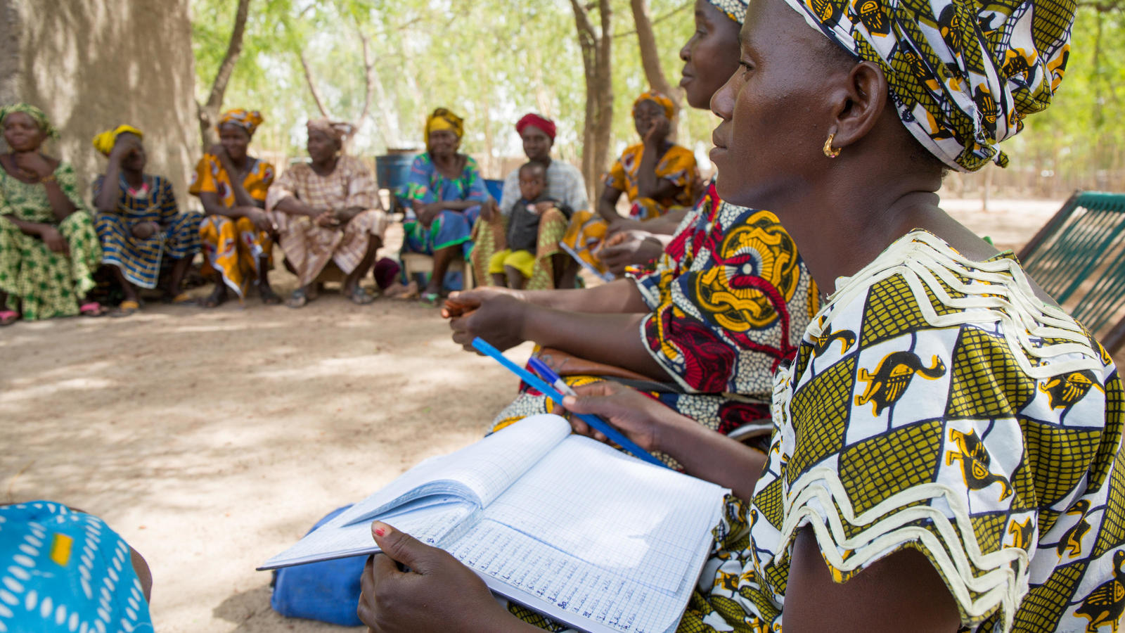 Members in discussion during a women's group meeting in Segou district, Mali.